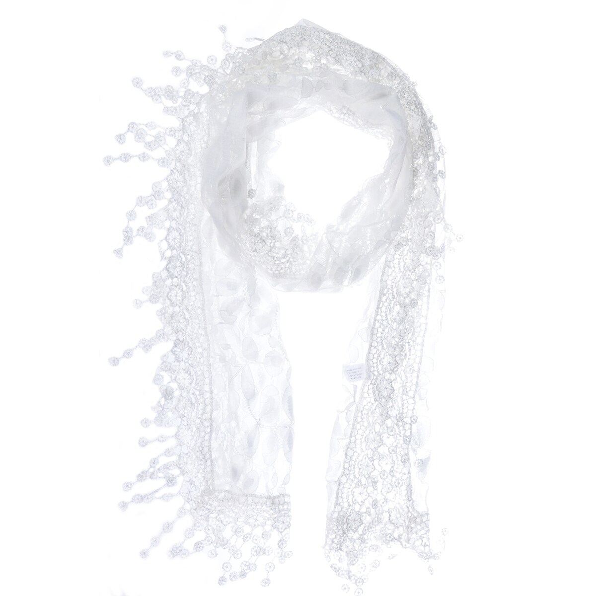 Thumbnail 45, Dreamy Lace Scarf with Leaf Design and Tassels. Changes active main hero.