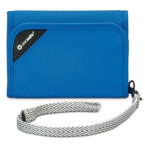 Pacsafe 10558600-Blue RFIDsafe V125 Blocking Tri-Fold Wallet w/ 6 Card Slots