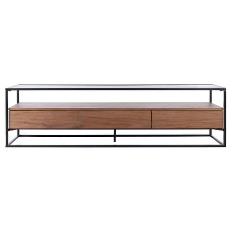 """SAFAVIEH Couture Lollita Glass and Wood 60-inch TV Stand - 60"""" W x 16"""" L x 16"""" H"""