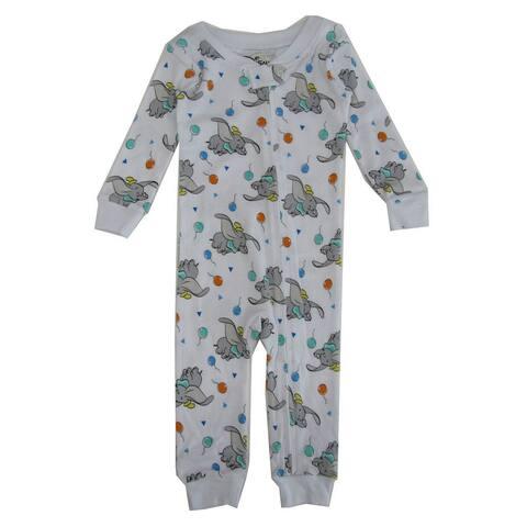 Disney Unisex Baby White Dumbo Print Long Sleeve Footless Sleeper