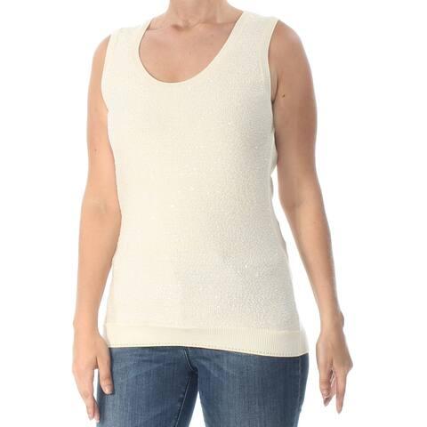 OSCAR DE LA RENTA Womens Ivory Sleeveless Scoop Neck Sweater Size L