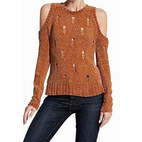 Ten Sixty Sherman Gold Women Small S Cold-Shoulder Chenille Sweater