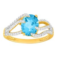 2 1/4 ct Natural Swiss Blue Topaz & 1/3 ct Diamond Ring in 10K Gold
