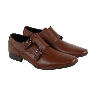 Calvin Klein Bayard Mens Tan Leather Casual Dress Strap Oxfords Shoes