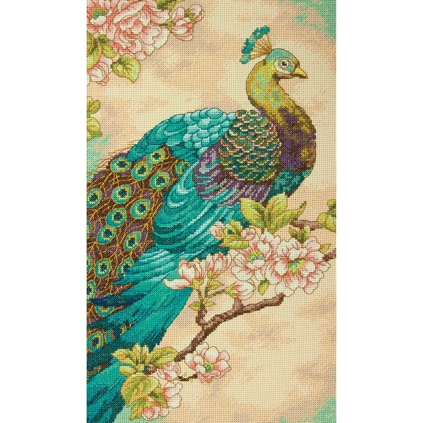 "Indian Peacock Counted Cross Stitch Kit-9""X15"" 14 Count"