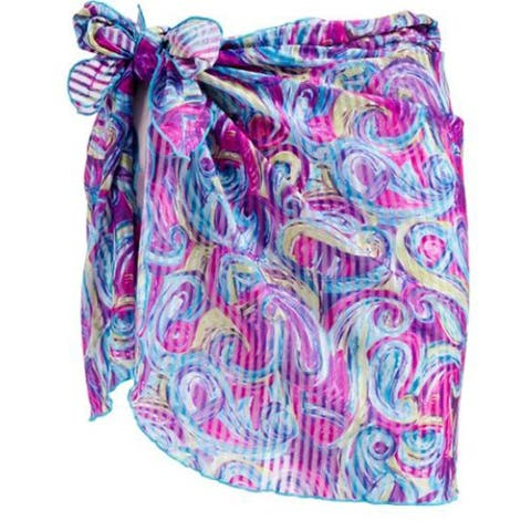 Sarong Cover up - Abstract Swirl in Blue and Purple