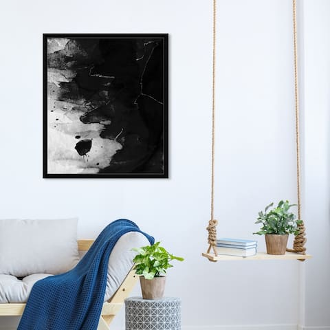Oliver Gal 'Ink Waves' Abstract Wall Art Framed Print Paint - Black, Gray