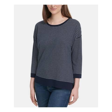 DKNY Womens Navy Striped Long Sleeve Crew Neck T-Shirt Top Size L