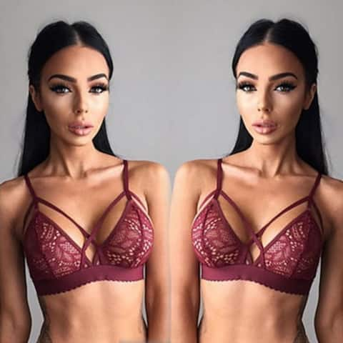 Floral Sheer Lace Triangle Bralette Bra Crop Top Bustier