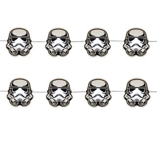 Club Pack of 12 Black and Gray Star Wars Movie Themed Storm Trooper Helmet LED Lights 9'