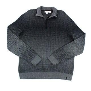 Calvin Klein NEW Black Mens Medium M Quarter Zip Check Sweater