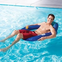 "42"" Blue and Aqua Swimming Pool Spring Float SunSeat with Backrest and Cup Holder"