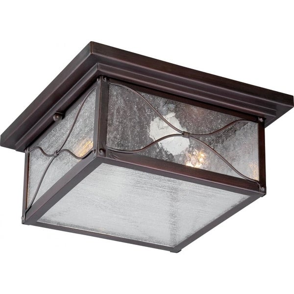 """Nuvo Lighting 60/5616 Vega 2-Light 11-1/4"""" Wide Outdoor Flush Mount Square Ceiling Fixture with Seedy Glass Shade"""