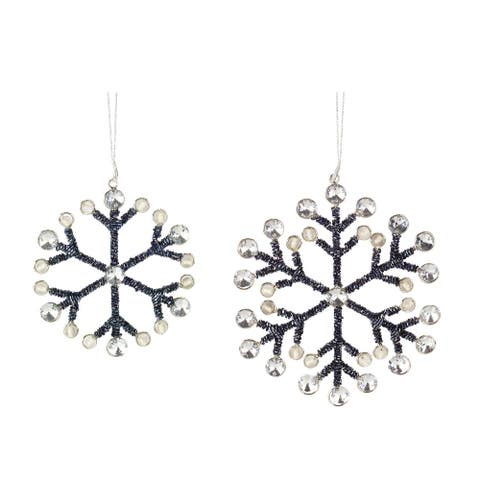 Set of 6 Black and Silver Cord Metal Snowflake Ornament 6.50