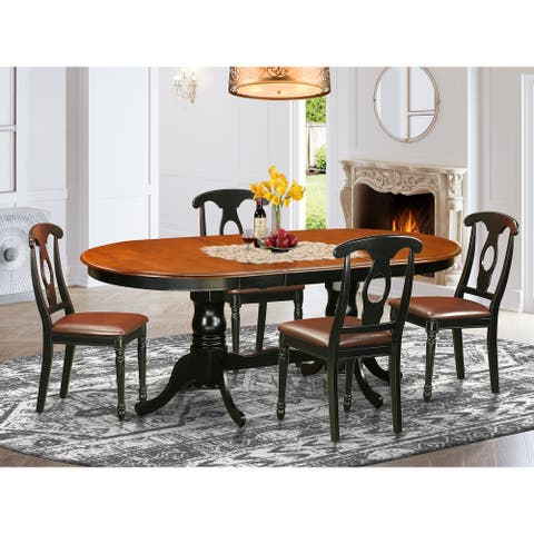 Black/Cherry Rubberwood Double Pedestal Dining Table with Panel Back Chairs (Pieces Option)