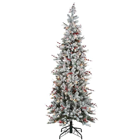 6.5 ft. Memory-Shape® Snowy Freehold Spruce Pencil Slim Tree with Multicolor Lights