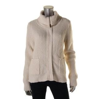 Lauren Ralph Lauren Womens Ribbed Knit Zip Up Funnel-Neck Sweater - L