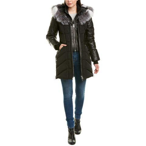 Series By Nicole Benisti Courcheval Leather-Trim Wool-Blend Down Coat