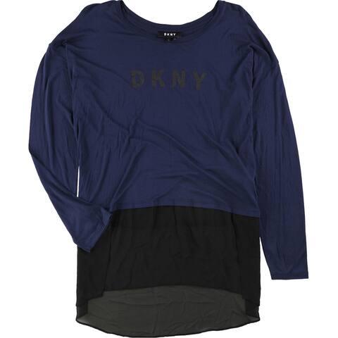 DKNY Womens Mixed Media Hi-Lo Graphic T-Shirt, Blue, Large