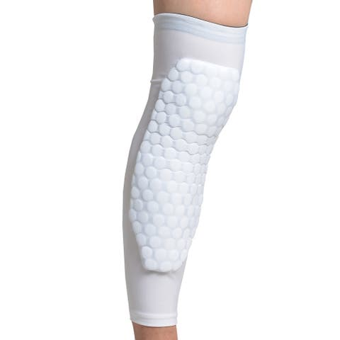 Image 1PCS Size S Basketball Knee Pad Long Leg Sleeve Honeycomb Protective Crashproof White