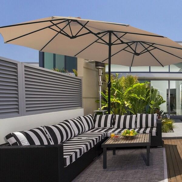 15 Ft Patio Umbrella Outdoor Umbrella with Crank & Base. Opens flyout.