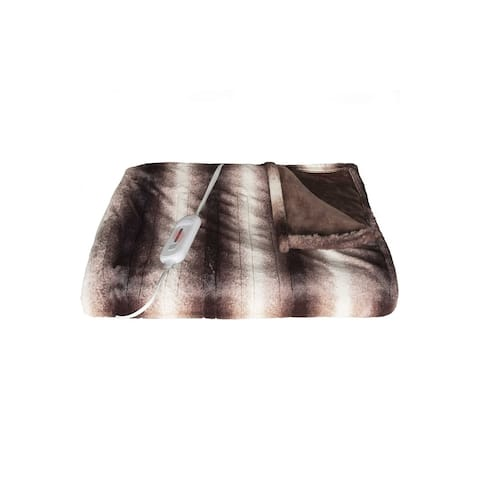 """HomeRoots 50"""" x 60"""" Brown & White Modern/Contemporary Heated - Throw Blankets"""