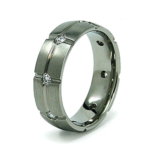7mm Grooved Titanium Ring with CZs (Sizes 8-12)