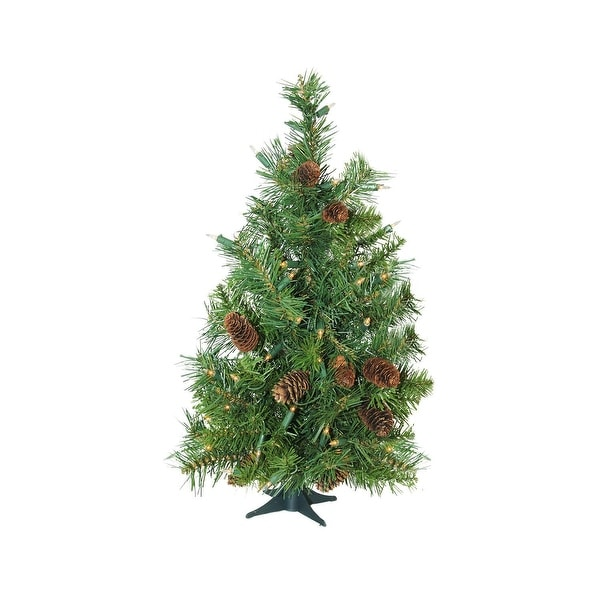"3' x 22"" Pre-Lit Dakota Red Pine Full Artificial Christmas Tree - Clear Dura Lights - green"