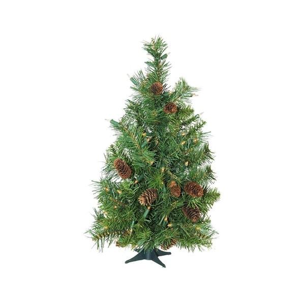 "3' x 22"" Pre-Lit Dakota Red Pine Full Artificial Christmas Tree - Clear Lights - green"