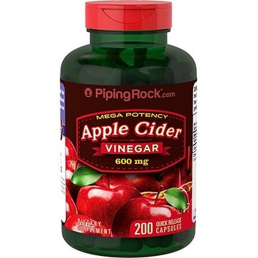 Piping Rock Mega Potency Apple Cider Vinegar 600 mg 200 Quick Release Capsules Dietary Supplement - 200 cap