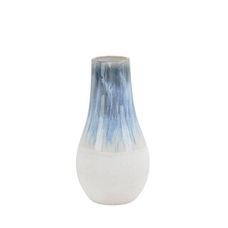 Elongated Shape Ceramic Vase with Distressed Pattern, Small, Blue and White