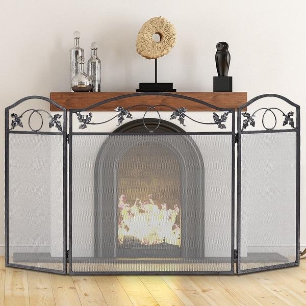 Costway Folding Steel Fireplace Screen Doors 3 Panel Heavy Duty Home Furni Decor Fire
