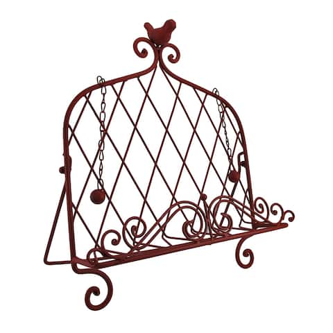 Decorative Red Bird Metal Cookbook Stand Book Holder Easel - 15.25 X 13.75 X 7 inches
