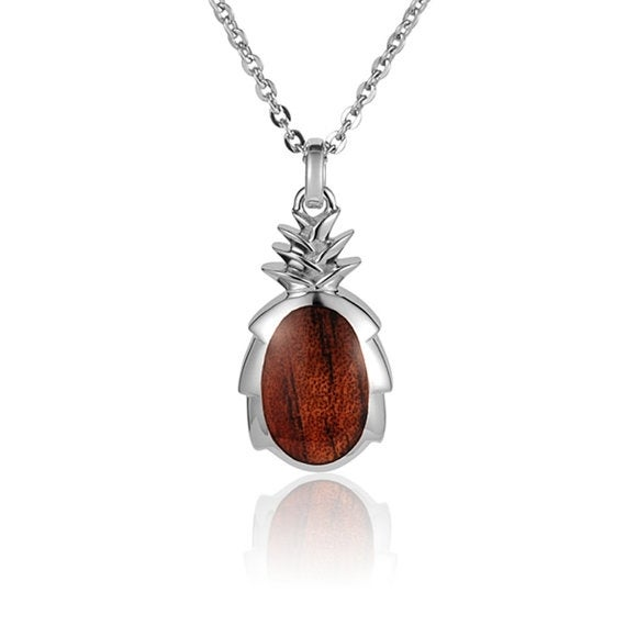 "Pineapple Necklace Koa Wood Sterling Silver Pendant 18"" Chain"