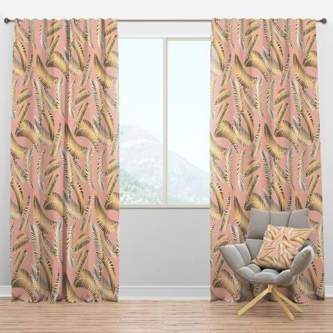 Designart 'Golden Foliage IV' Mid-Century Modern Blackout Curtain Panel