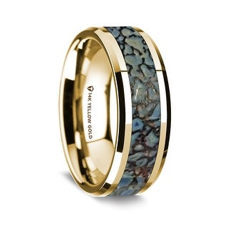 14K Yellow Gold Polished Beveled Edges Wedding Ring With Blue Dinosaur Bone Inlay 8 Mm