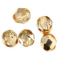 Czech Fire Polished Glass Beads 6mm Round 'Crystal Gold' (25)