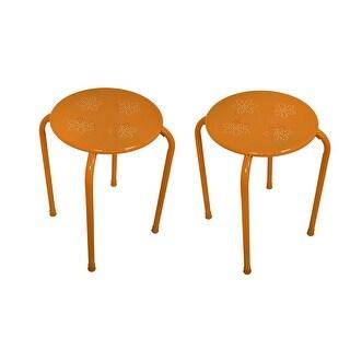 Delightful Set Of 2 Orange Metal Retro Flower Stool/Tables 17 Inch