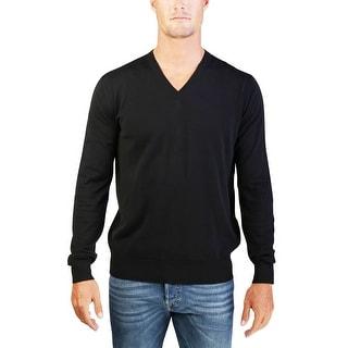 Prada Men's Cotton V-Neck Sweater Black