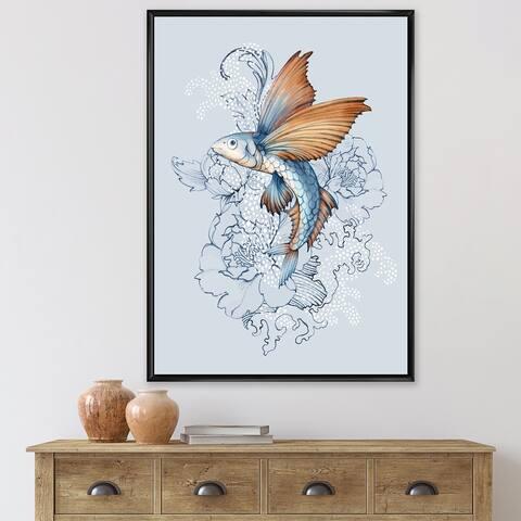 Designart 'Flying Fish on Peonies' Traditional Framed Canvas Wall Art Print