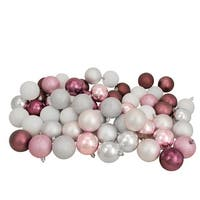 "60ct Blush Pink/Mulberry/Silver/White Shatterproof 3-Finish Christmas Ball Ornaments 2.5"" - Multi"