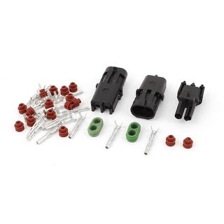 Unique Bargains 2 Set Black Waterproof Connector 2.5mm Terminal 2 Pin Heat Shrink Plugs for Car
