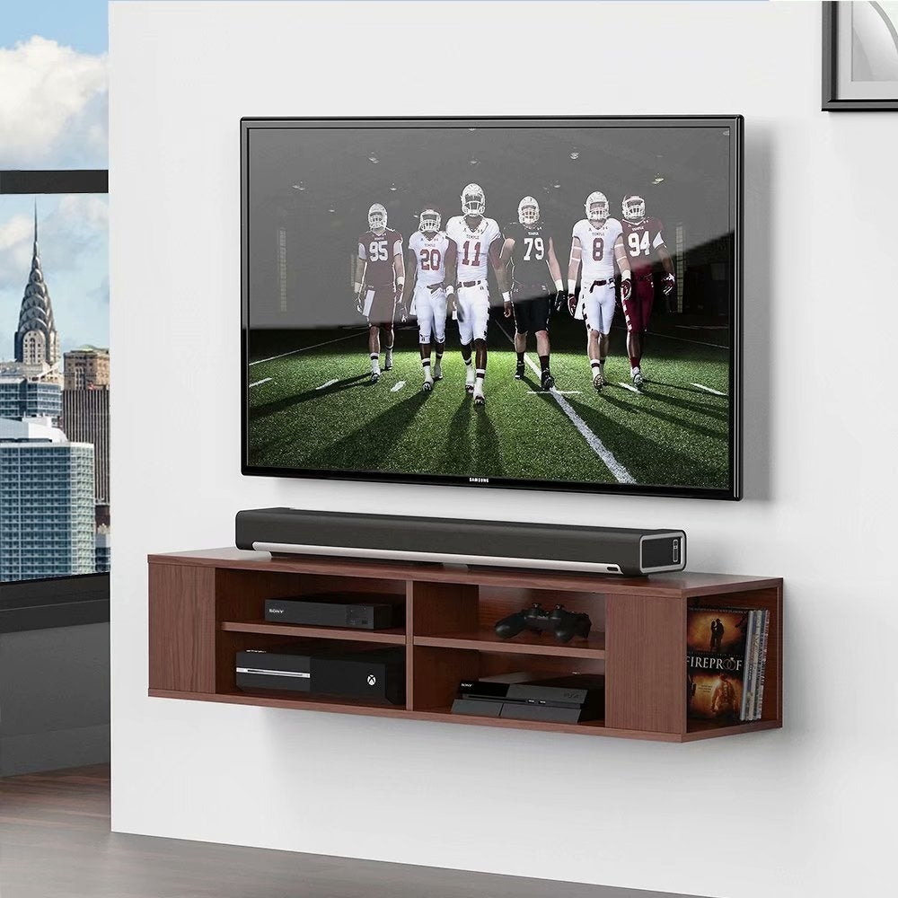FITUEYES Floating TV Stand Wall Mount Media Shelf Entertainment Center - 47 inches in width (47 inches in width - Walnut) -  FUTIEYES