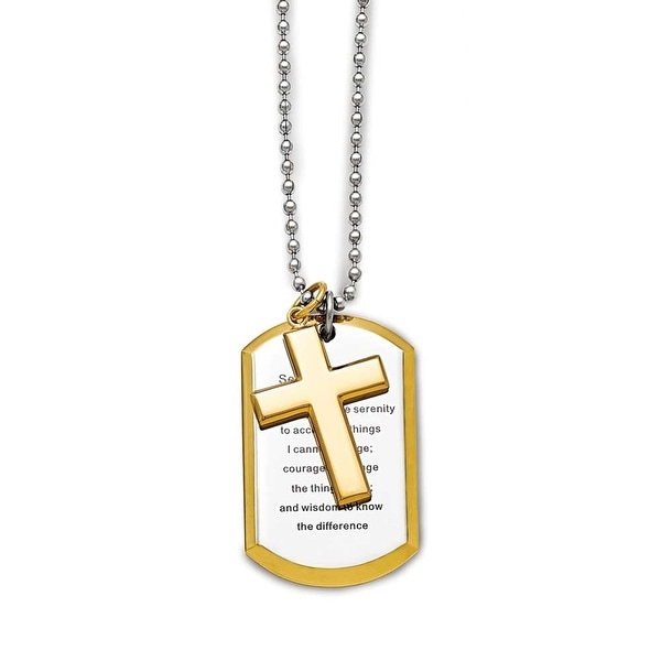 Chisel Stainless Steel Polished Yellow IP-plated Serenity Prayer Necklace - 24 in