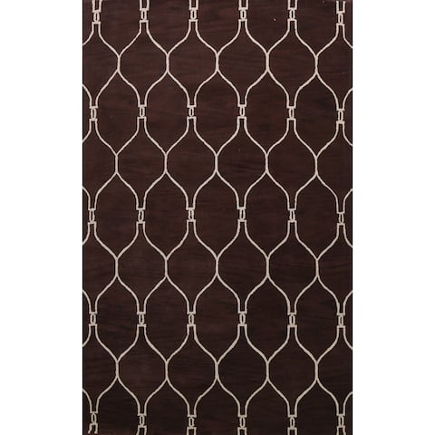 """Contemporary Trellis Oriental Brown Area Rug Hand-tufted Wool Carpet - 9'0"""" x 12'0"""""""