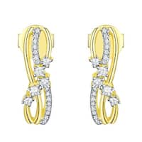 Prism Jewel 0.21Ct G-H/SI1 Natural Diamond Light Weight Stylist Push Back Earring - White G-H