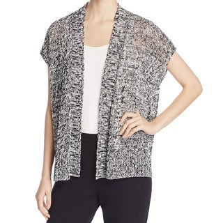 Eileen Fisher NEW Black Womens Size XS Open-Front Marled Knit Cardigan