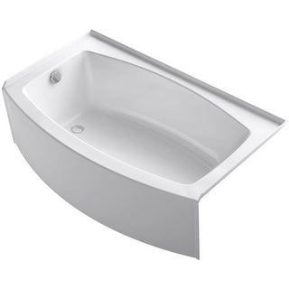 "Kohler K-1118-LA Expanse Bath Tub 60"" x 36"" Acrylic Soaking for Three Wall Alcove Installations with Integral Curved Apron and"