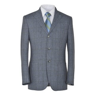 Eidos Napoli By Isaia Tipo Blue Silk and Linen 3 on 2 Plaid Sportcoat 36R