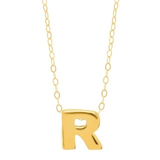 Just Gold Teeny Tiny 'R' Initial Pendant in 10K Gold - Yellow